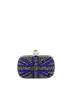 Alexander McQueen - Britannia Studded Suede Box Clutch