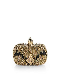 Alexander McQueen - Glory Ice Embellished Leather & Mesh Box Clutch