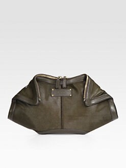 Alexander McQueen - De-Manta Leather Trimmed Hair Calf Clutch