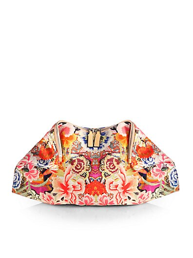 Demanta Floral Printed Satin Clutch