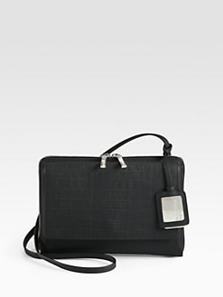 Jil Sander Navy - Crocodile-Embossed Leather Shoulder Bag