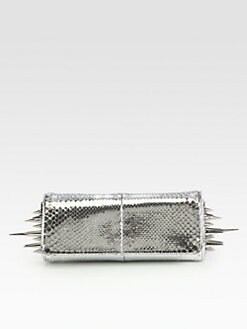 Christian Louboutin - Marquise Metallic Python Spiked Clutch