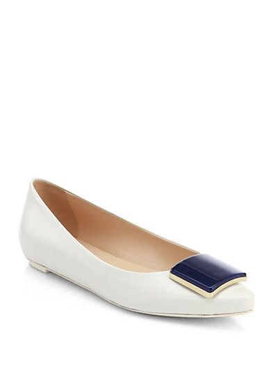 Leather Square-Detail Ballet Flats
