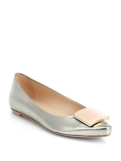 Metallic Leather Square-Detail Ballet Flats
