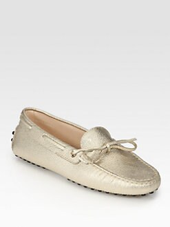 Tod's - Metallic Leather Moccasin Loafers