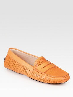 Tod's - Leather Optical Flower Moccasin Drivers