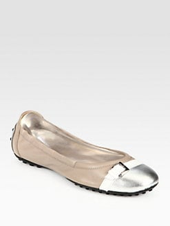 Tod's - Leather & Metallic Leather Buckle Ballet Flats