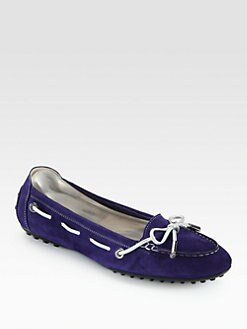 Tod's - Suede & Metallic Leather Moccasin Loafers