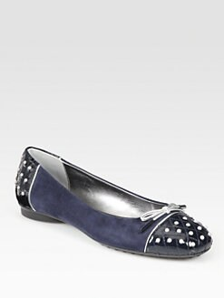 Tod's - Mixed-Media Bow Ballet Flats