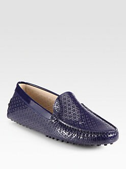 Tod's - Patent Leather Optical Print Loafers