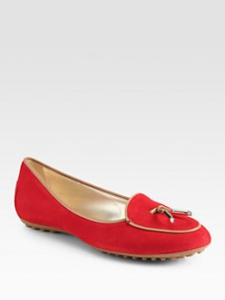 Tod's - Pilgrim Ballerina Suede Leather-Trimmed Loafers