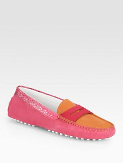 Tod's - Suede & Calf Hair Moccasins