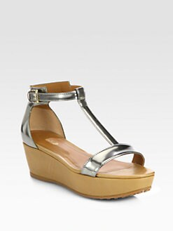 Tod's - Metallic Leather T-Strap Wedge Sandals