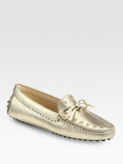 Tod's - Perforated Metallic Lace-Up Drivers