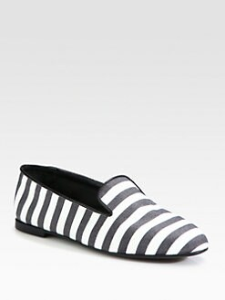 Tod's - Striped Satin Leather-Trimmed Smoking Slippers