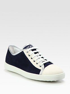 Tod's - Suede & Leather Lace-Up Sneakers