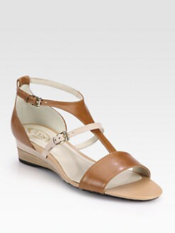 Tod's - Leather Trimmed Wedge Sandals
