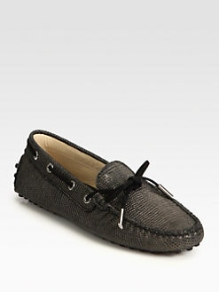 Tod's - Textured Metallic Leather & Suede Lace-Up Drivers