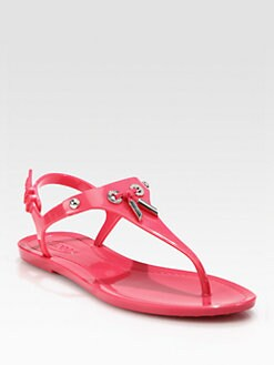 Tod's - Jelly & Patent Leather Thong Sandals