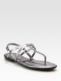 Tod's - Metallic Leather Thong Sandals