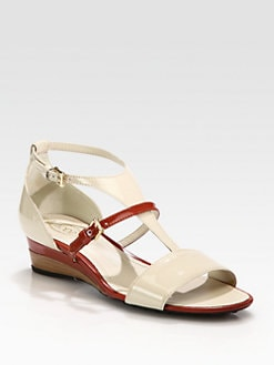 Tod's - Bicolor Patent Leather Wedge Sandals