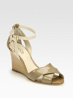 Tod's - Patent Leather Wooden Wedge Sandals