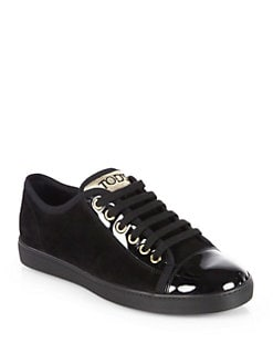 Tod's - Suede & Patent Leather Lace-Up Sneakers