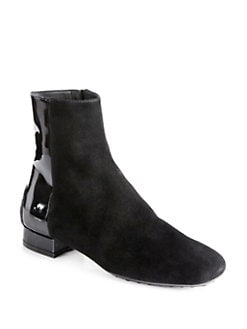 Tod's - Suede & Patent Leather Ankle Boots