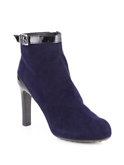 Tod's - Suede & Patent Leather-Trimmed  Ankle Boots
