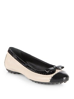 Tod's - Perforated Leather & Patent Leather Ballet Flats