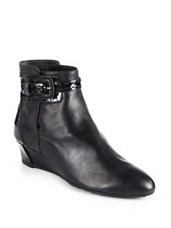Tod's - Leather & Patent Leather Wedge Ankle Boots
