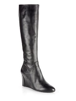 Tod's - Leather Knee-High Wedge Boots