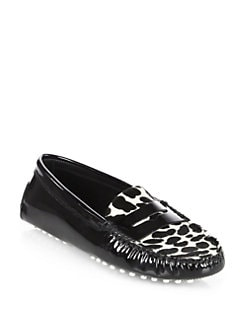 Tod's - Patent Leather & Leopard-Print Pony Hair Moccasin Drivers