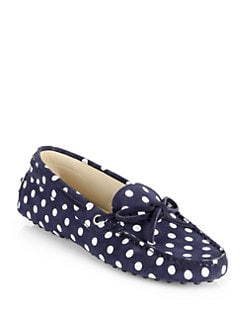 Tod's - Suede Polka Dot Lace-Up Drivers
