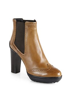 Tod's - Leather Wingtip Platform Ankle Boots
