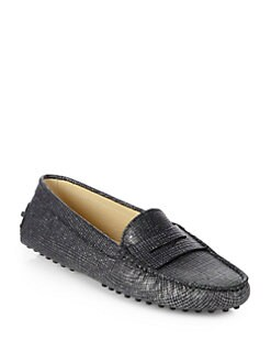 Tod's - Glitter Tweed-Print Leather Moccasin Drivers