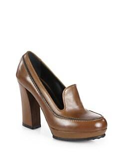 Tod's - Leather Loafer Platform Pumps