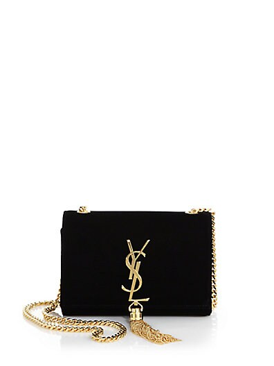 Saint Laurent Monogram Small Velvet Chain Bag with Tassel