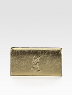 Saint Laurent - Saint Laurent Belle De Jour Metallic Leather Clutch