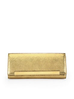 Saint Laurent - Saint Laurent Lutetia Metallic Leather Flap Clutch