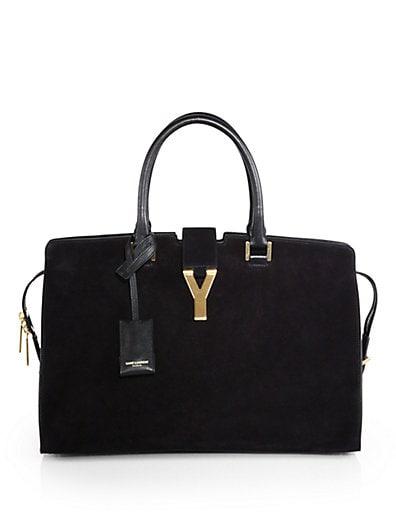 Saint Laurent Medium Ligne Y Suede Top-Handle Bag