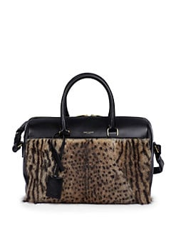 Saint Laurent - Saint Laurent Leopard Print Marmot Fur & Leather Duffle 6 Bag