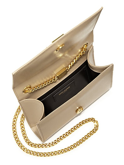 Monogram Saint Laurent Chain Wallet In Black Grain De Poudre Textured Leather