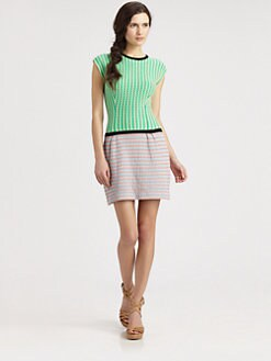 Nanette Lepore - Two-Tone Waffle Knit Dress