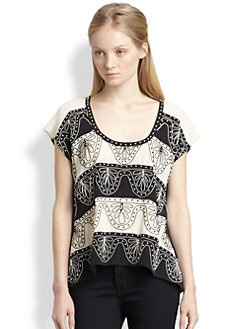 Nanette Lepore - Two-Step Embroidered Silk Top