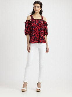 Nanette Lepore - Silk Cherry Print Top