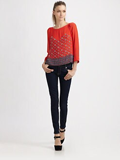 Nanette Lepore - Sun Sign Beaded Silk Top