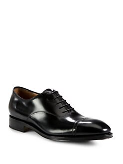 Salvatore Ferragamo - Domino Calfskin Leather Lace-Up