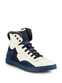 Salvatore Ferragamo - Suede, Leather & Shearling High-Top Sneakers