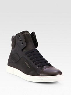Salvatore Ferragamo - Leather High-Top Sneakers